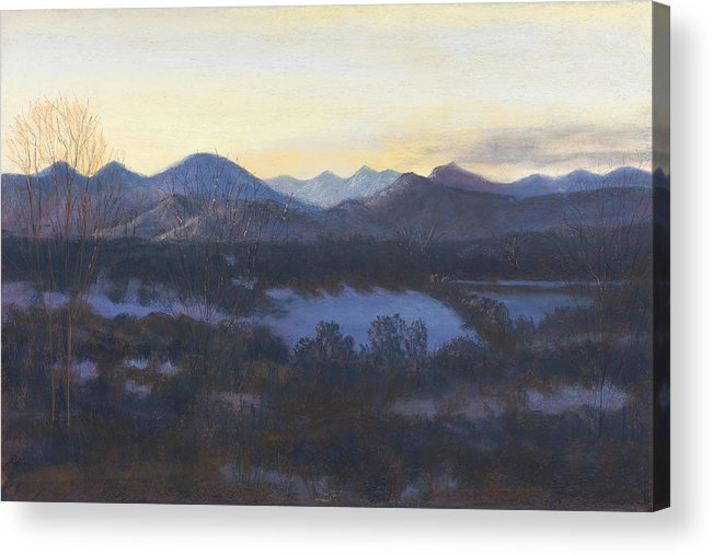 Landscape Of Co Mountains Acrylic Print featuring the painting Nocturne On The Front Range Of Colorado by Diane Edwards