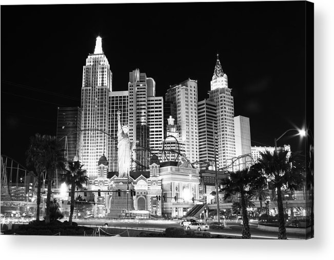 Vegas Acrylic Print featuring the photograph Ny Ny In Bw by Rich Tanguay