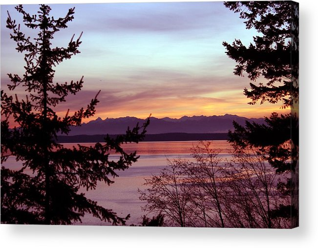 Sunset Acrylic Print featuring the photograph Oak Harbor Sunset 1016 by Mary Gaines