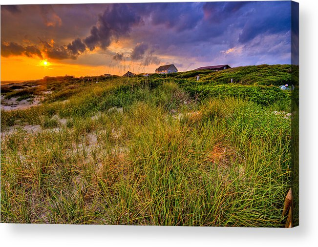Sun Acrylic Print featuring the photograph Oak Island Sunset by Ches Black
