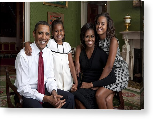 History Acrylic Print featuring the photograph Obama Family Official Portrait By Annie by Everett