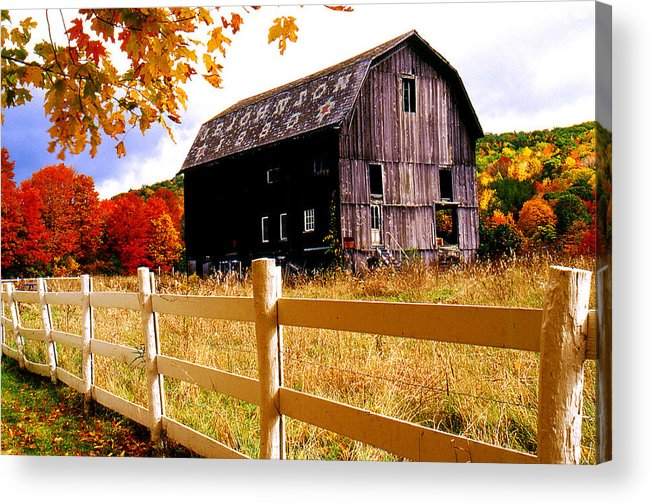 Rural Acrylic Print featuring the photograph Old Barn In Autumn by Roger Soule