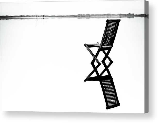 Landscape Acrylic Print featuring the photograph Old Chair In Calm Water by Gert Lavsen