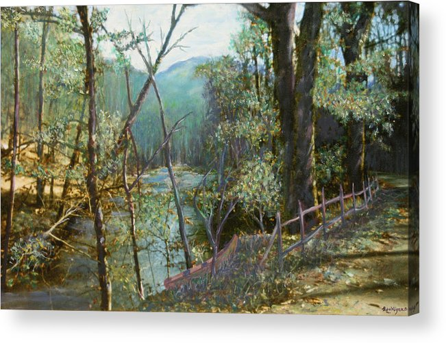 River; Trees; Landscape Acrylic Print featuring the painting Old Man River by Ben Kiger