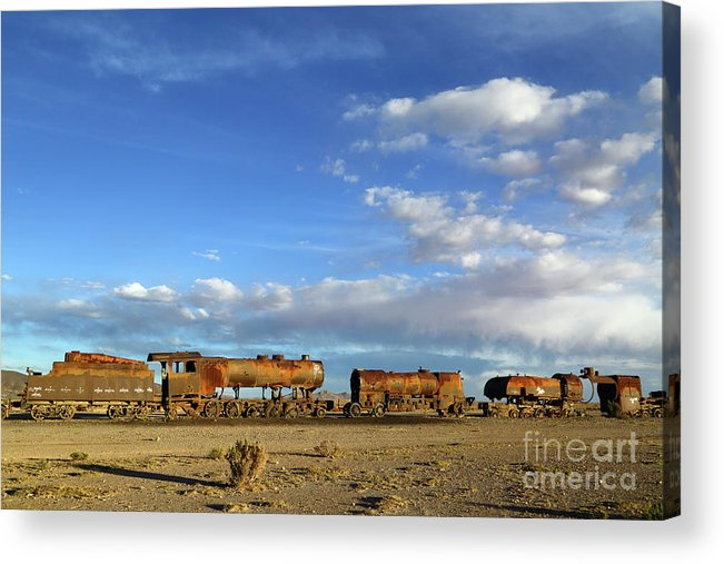 Steam Engine Acrylic Print featuring the photograph Old Steam Trains And Big Skies Bolivia by James Brunker