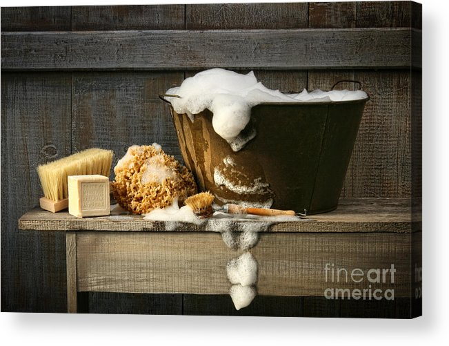 Antique Acrylic Print featuring the photograph Old Wash Tub With Soap On Bench by Sandra Cunningham