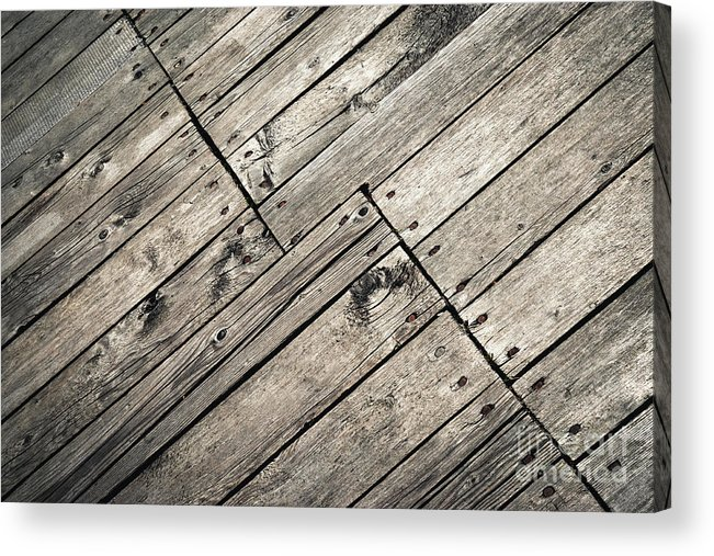 Piece Acrylic Print featuring the photograph Old Wooden Boards Nailed by Jozef Jankola