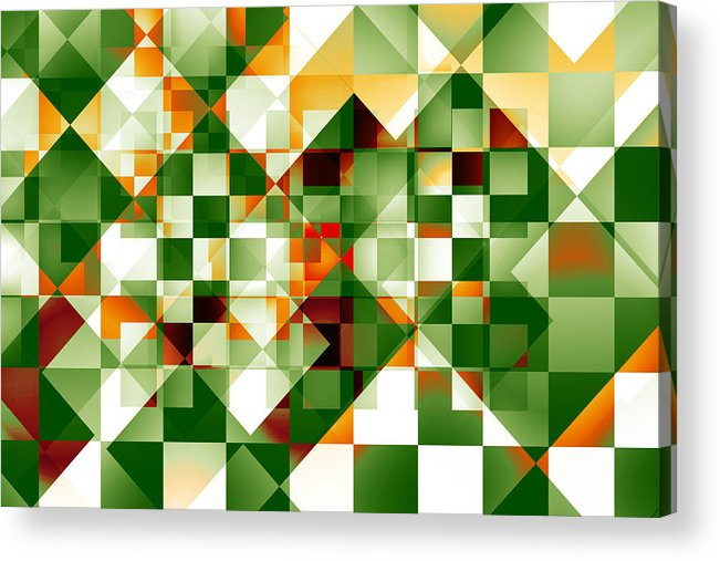 Abstract Acrylic Print featuring the digital art Olive Facets by Gae Helton