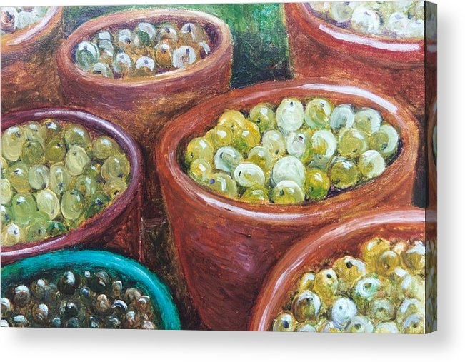 Olives Acrylic Print featuring the painting Olives By The Crock by Jun Jamosmos