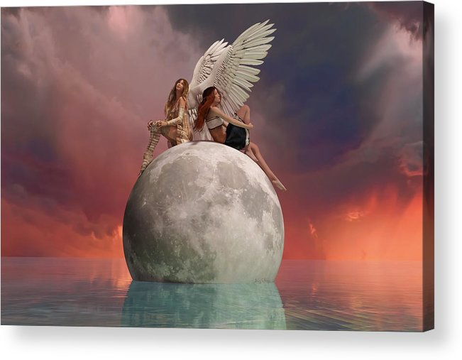 3d Acrylic Print featuring the digital art On A Wing And A Prayer by Betsy Knapp