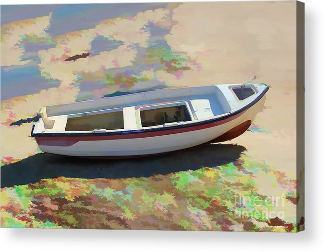 Boat Image Acrylic Print featuring the photograph On The Beach Mykonos Greece by Tom Prendergast