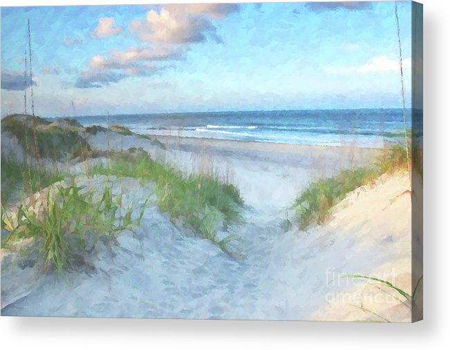 Beach Acrylic Print featuring the digital art On The Beach Watercolor by Randy Steele