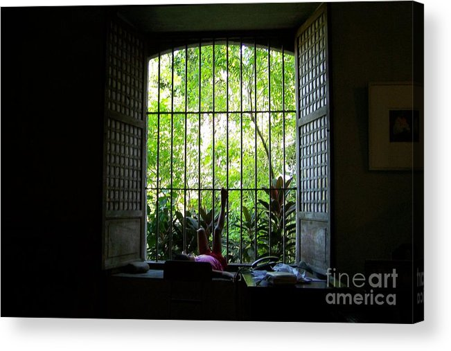 Window Acrylic Print featuring the photograph One Lazy Sunday Afternoon By The Window by Dindin Coscolluela