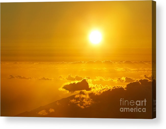 Altitude Acrylic Print featuring the photograph Orange Sunset - Haleakala by MakenaStockMedia - Printscapes