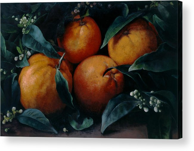 Orange Acrylic Print featuring the painting Oranges by Kira Weber