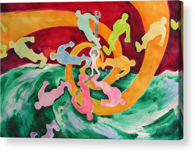 Watercolor Acrylic Print featuring the painting Out Of Control by Mark Sharer