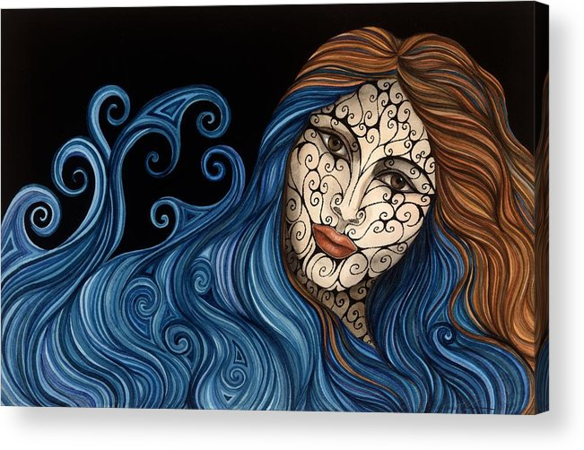 Figurative Acrylic Print featuring the painting Out Of The Blue by Tina Blondell