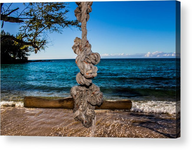 Ocean Acrylic Print featuring the photograph Pacific Rope Swing by JJ Tondo
