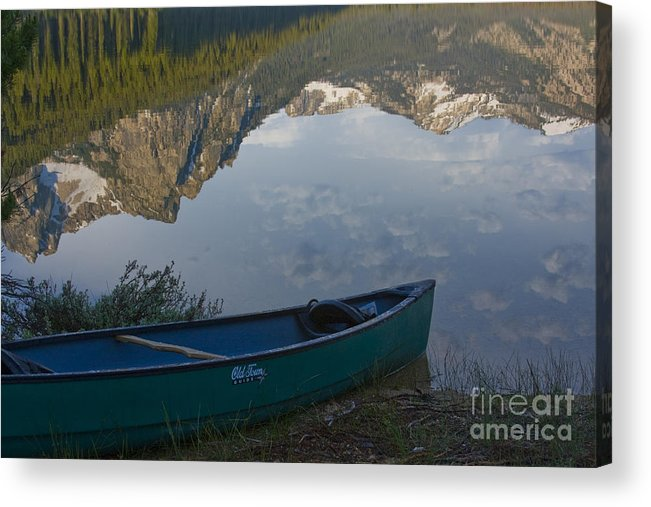 Canoe Acrylic Print featuring the photograph Paddle To The Mountains by Idaho Scenic Images Linda Lantzy