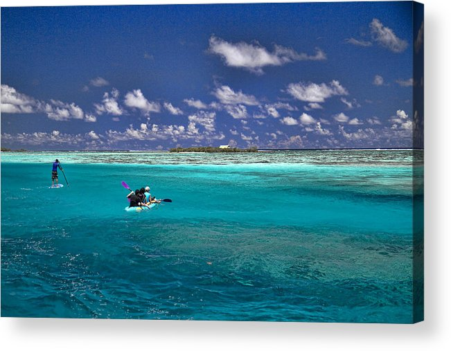 Moorea Acrylic Print featuring the photograph Paddling In Moorea by David Smith