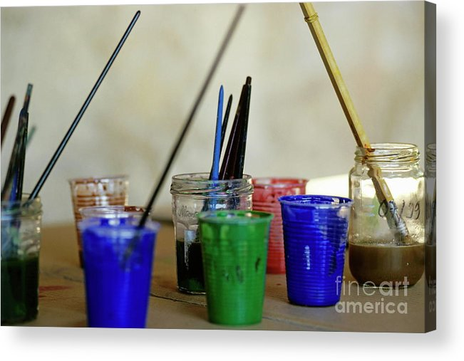 Art Acrylic Print featuring the photograph Paintbrushes Soaking In Water by Sami Sarkis