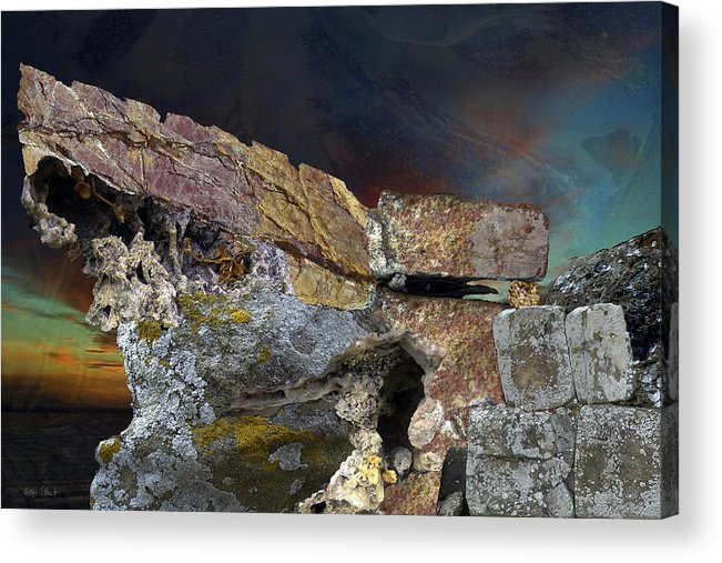 Fantasy Acrylic Print featuring the digital art Painted Cliff by Helga Schmitt