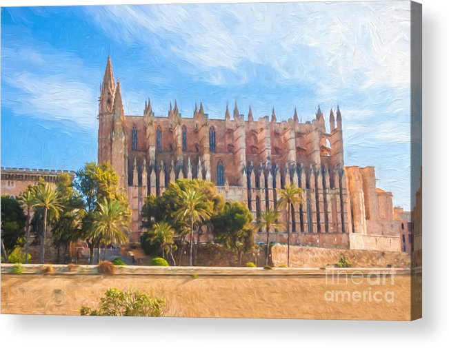 Palma Cathedral Acrylic Print featuring the digital art Palma Cathedral D40180 by Kevin Funk