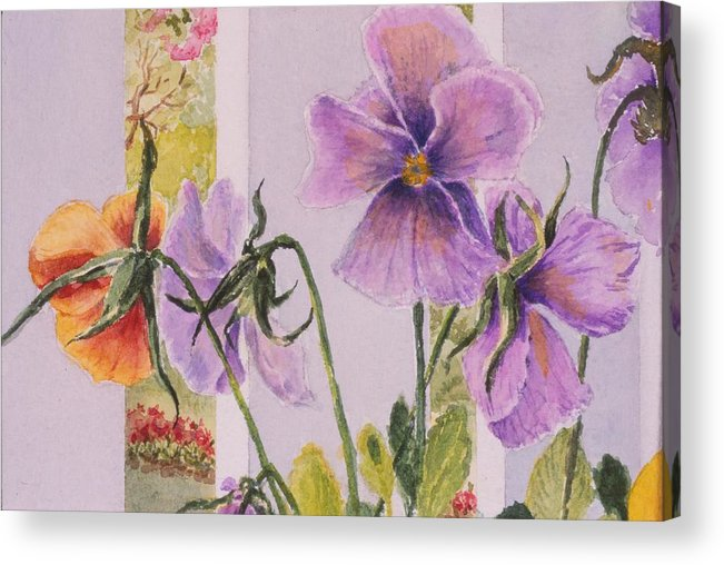 Florals Acrylic Print featuring the painting Pansies On My Porch by Mary Ellen Mueller Legault