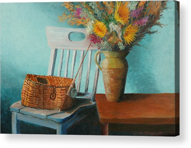 Floral Acrylic Print featuring the painting Papa's Pole by Jerry McElroy