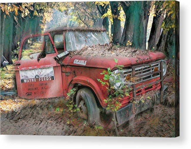 American Acrylic Print featuring the photograph Parked On A Country Road Watercolors Painting by Debra and Dave Vanderlaan