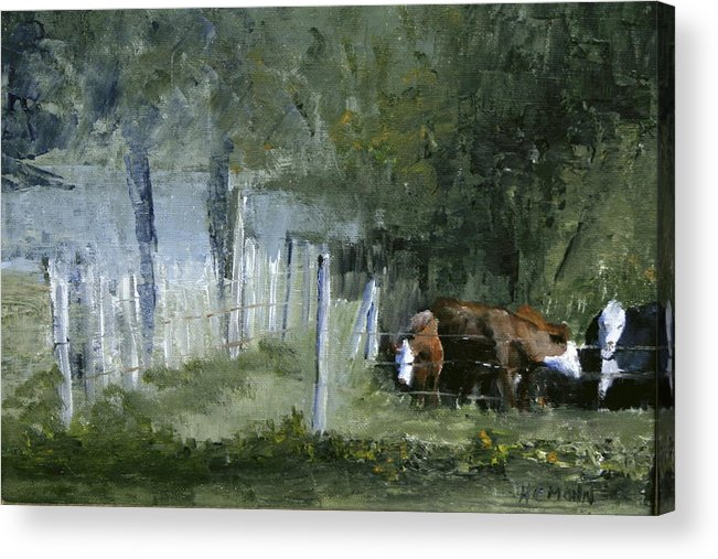 Painting Acrylic Print featuring the painting Pasture by Helene Mohn
