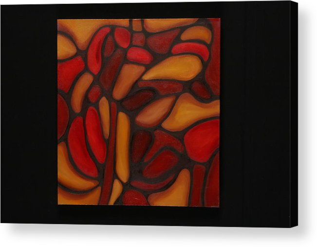 Abstract Acrylic Print featuring the painting Pattern 1 by Mary Silver