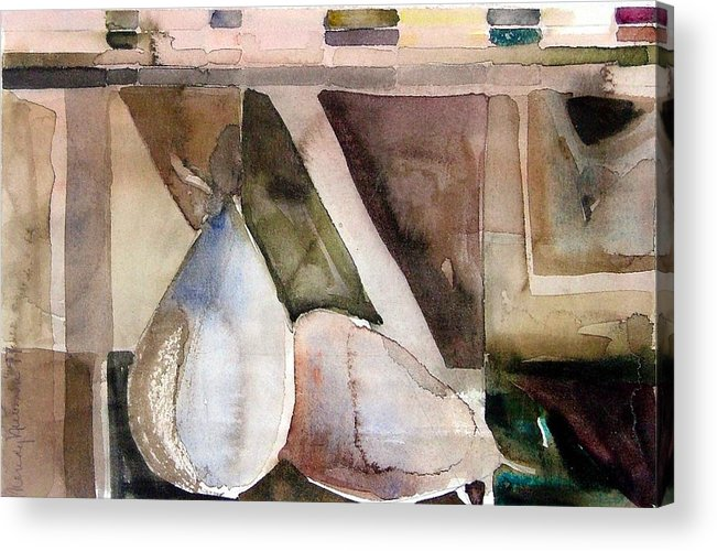 Pear Acrylic Print featuring the painting Pear Study In Watercolor by Mindy Newman