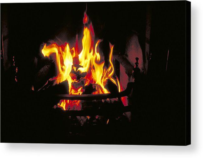 Cheerful Acrylic Print featuring the photograph Peat Fire In Ireland by Carl Purcell