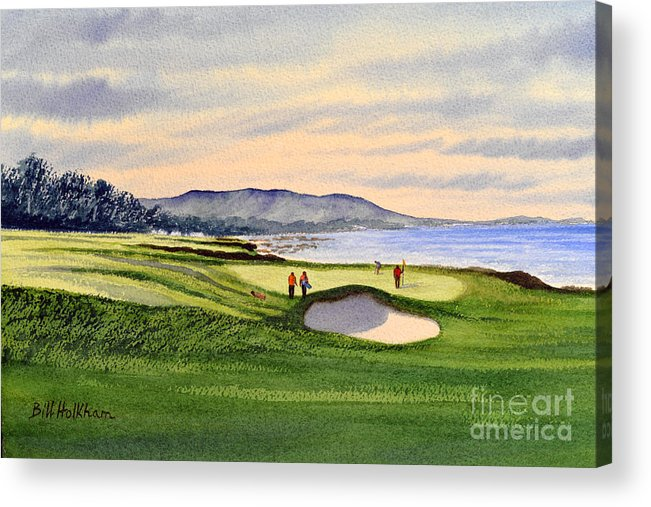 Golf Acrylic Print featuring the painting Pebble Beach Golf Course by Bill Holkham