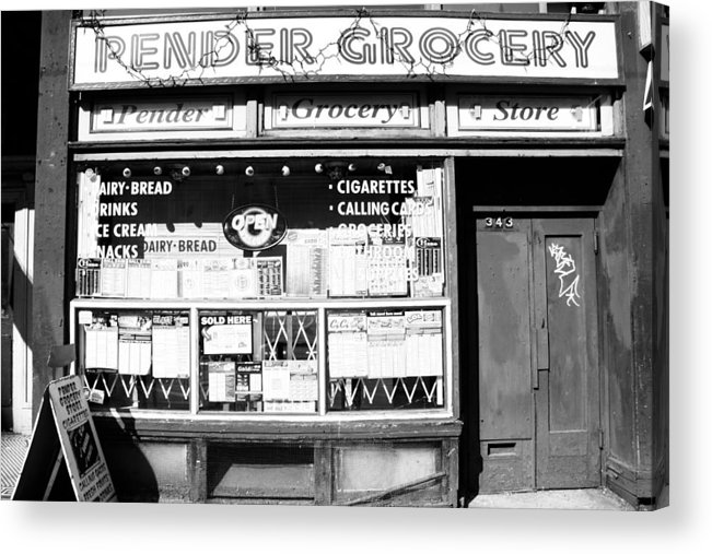 B&w Acrylic Print featuring the photograph Pender Convenience by Kreddible Trout