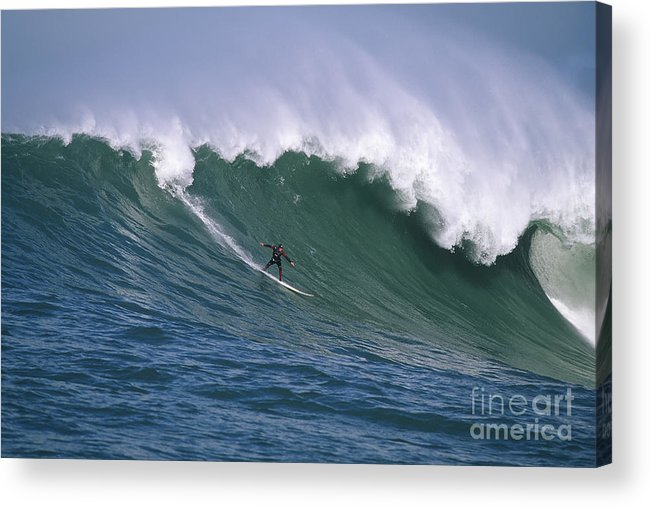 Mavericks Acrylic Print featuring the photograph Pete On A Perfect Day At Mavericks by Stan and Anne Foster