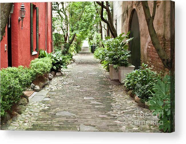 Philadelphia Alley Acrylic Print featuring the photograph Philadelphia Alley Charleston Pathway by Dustin K Ryan