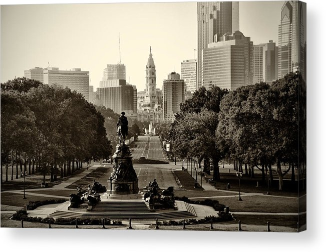 Philadelphia Acrylic Print featuring the photograph Philadelphia Benjamin Franklin Parkway In Sepia by Bill Cannon