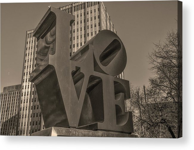 Philly Acrylic Print featuring the photograph Philly Esque - Love Statue In Sepia by Bill Cannon