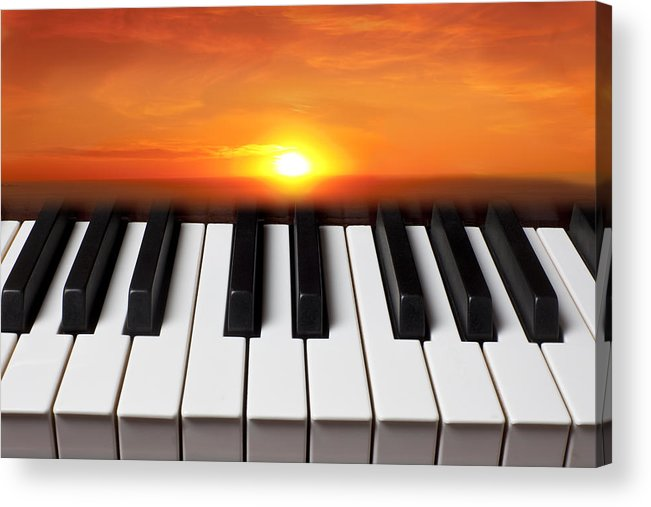 Piano Keys Acrylic Print featuring the photograph Piano Sunset by Garry Gay