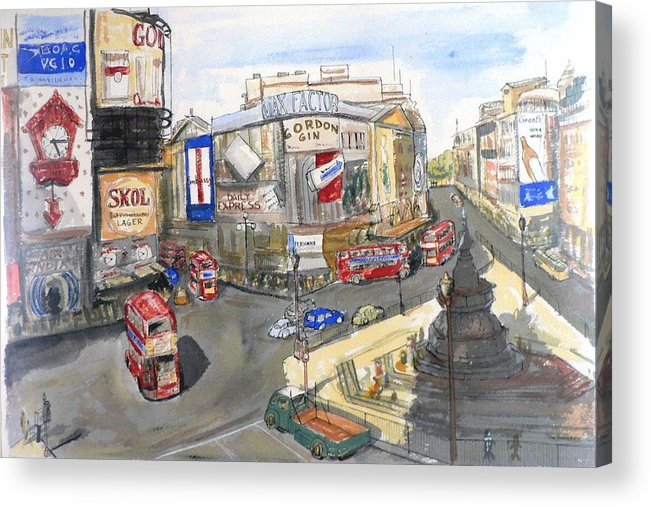 Street Scene Acrylic Print featuring the painting Picadilly Circus by Dan Bozich