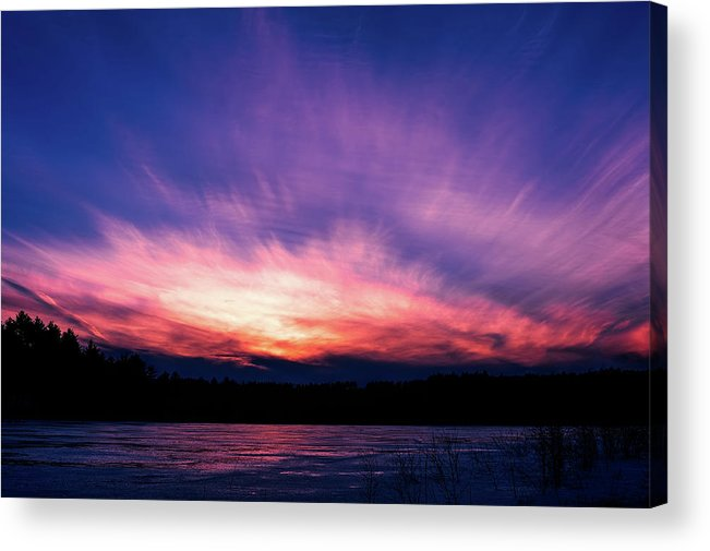 Sunset Acrylic Print featuring the photograph Pickerel Lake by Scott Norris