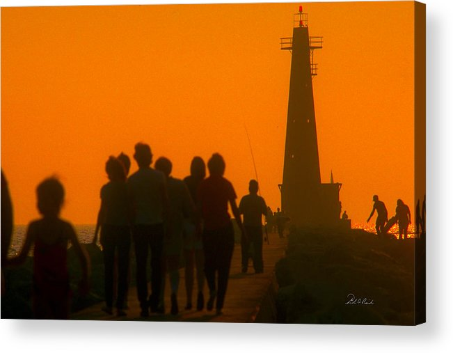 Photography Acrylic Print featuring the photograph Pier Walkers by Frederic A Reinecke