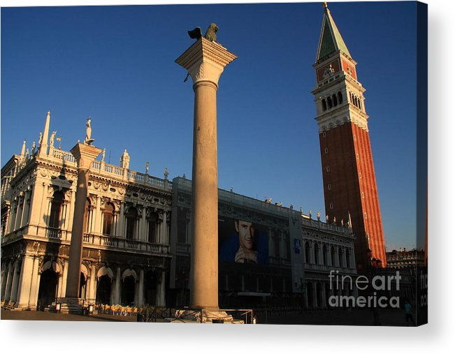 Venice Acrylic Print featuring the photograph Pillars And Bell Tower At San Marco In Venice by Michael Henderson