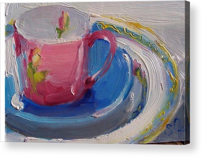 Still Life Acrylic Print featuring the painting Pink Cup by Susan Jenkins