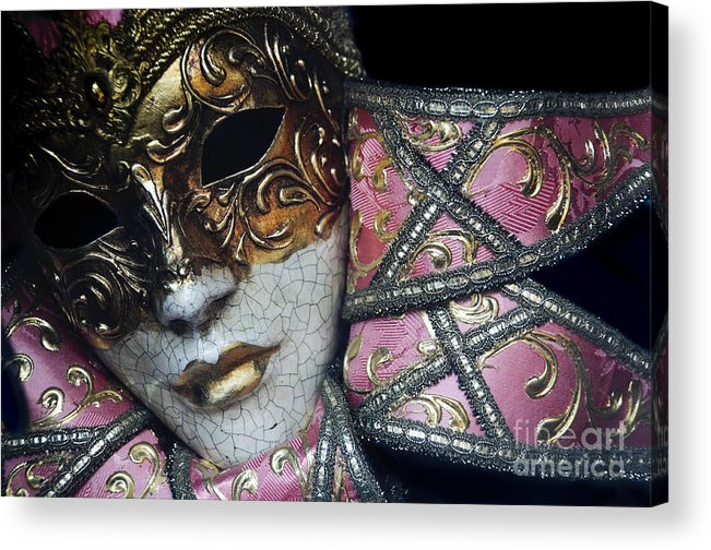 Black Acrylic Print featuring the photograph Pink Mask by Oscar Gutierrez