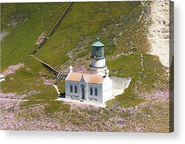 Aerial View Of point Conception Lighthouse Is Printed On Archival 8x12 Glossy Photo Paper. Acrylic Print featuring the photograph Point Conception Lighthouse by Michael Madrid
