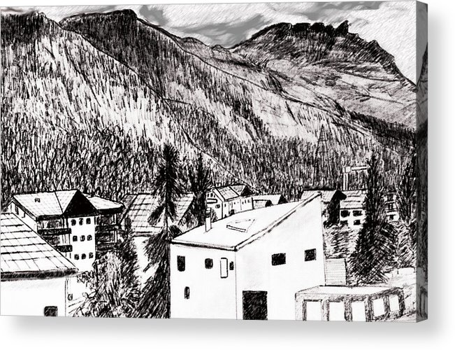 Switzerland Acrylic Print featuring the drawing Pontresina Black And White by Monica Engeler