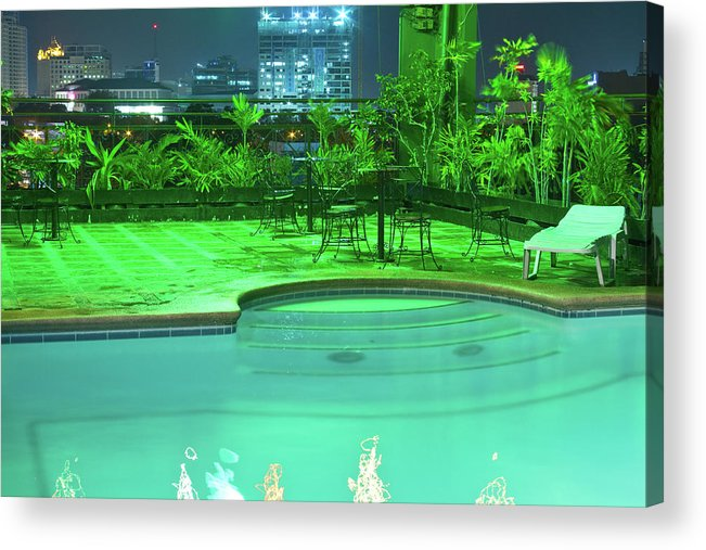 Insogna Acrylic Print featuring the photograph Pool With City Lights by James BO Insogna